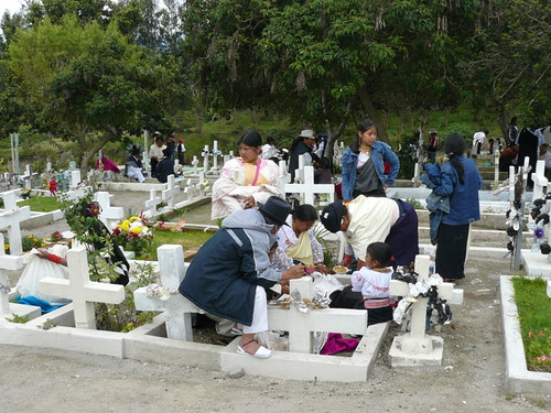 Indigenous family at Cotacachi cemetery