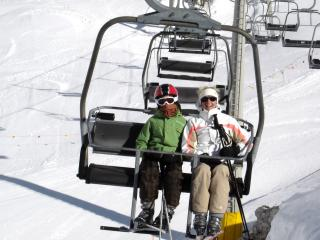 tine and lana on lift
