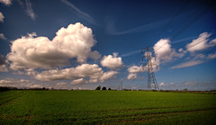 Natural Power (GaryTumilty) Tags: blue sky cloud green tower field grass lines power pylon wires vignette hartlepool tonemapped