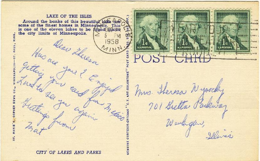 REVERSE SIDE: Lake Of The Isles, Minneapolis, Minnesota