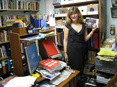 That\'s me in my dad's record room. My favorite band is Roxy Music!