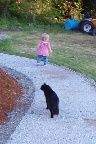 being followed by her constant companion