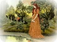 Eugene Grasset. Jeune Fille dans un Jardin.