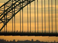 Big Bridge Small Runner (wendyb1214) Tags: bridge oregon sunrise newport pacificnorthwest oregoncoast runner jogger flickrchallengegroup flickrchallengewinner
