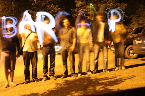 Команды Латвии и Украины написали телефонами слово BARCAMP