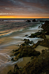 Trigg Beach Sunset (Sunlit Skies // Andrew Fuller) Tags: sunset waves perth slowshutter westernaustralia trigg sunsetcoast