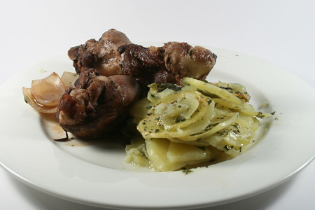 Coq au vin and boulangere potatoes