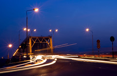 Chuong Duong bridge (linh.ngan) Tags: city bridge blue light summer sky night landscape flow gold iso100 traffic sunday hanoi wandering chuongduong vietbestphoto