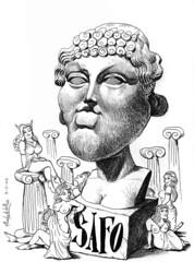 SAFO de Lesbos (Morales de los Ros) Tags: writers caricaturas philosophers caricatures escritores filsofos