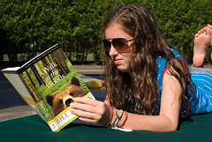 Teenage girl reading (jackie weisberg) Tags: girls summer people urban usa girl vertical kids children reading book us kid child unitedstates image unitedstatesofamerica books photograph american leisure summertime awalkinthewoods billbryson colorimage jackieweisberg heritage2011