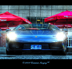 Gastown Stallion (ecstaticist) Tags: blue red sports car vancouver umbrella lights italian pub shine pavement ground headlights casio steamworks gastown lamborghini brewpub 5x photomatix supershot exf1