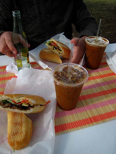 Our whole spread, with condensed milk iced coffees