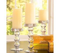 Pottery Barn Glass Sphere Candleholders