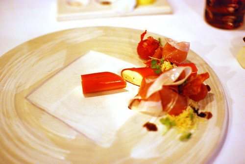 Gel canneloni, serrano ham and parmesan sand from Vue De Monde, Melbourne