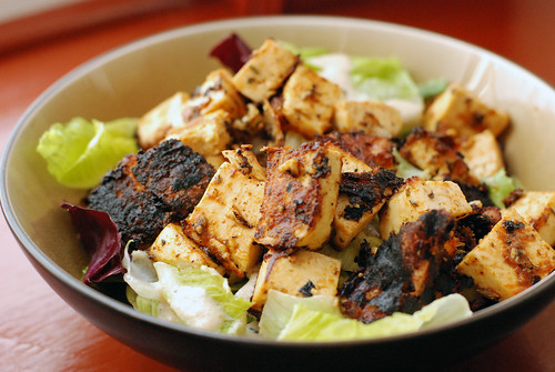 ED&BVs Blackened Tofu over mixed greens with Living Caesar Dressing