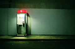 (supacrush) Tags: orange green night canon booth dark concrete 50mm lowlight fuji phone box superia sydney australia telstra a1 wonderland canona1 newtown footpath 800 50mmf14 fillm