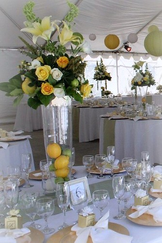 Tall wedding centerpiece - yellow and white rose with lemon accents