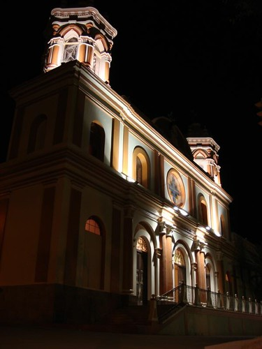 Tupiza Cathedral at night. Southern Bolivia.