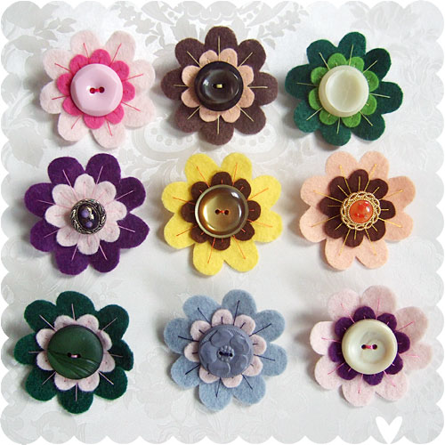 Vintage Button Brooches