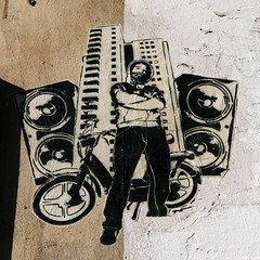 man (berlin.10119) Tags: streetart berlin pasteup cutout cool boom sound speaker ghetto hochhaus mofa boxen yoisnumbertwo timszepan