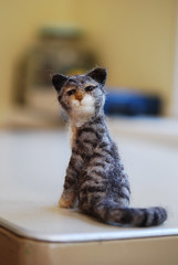 Needle felted cat - tiger striped (rootcrop54) Tags: art wool animal animals felted cat miniature chat handmade oneofakind stripes tabby tiger felt fantasy gato needlefelting fiber  macska gatto kot striped koka kedi chatte katt kissa kttur maka filz kucing   needlefelted kat  maek kais gorbe wooliture nassgefilzt needlefeltedcats rootcrop54 helenrogers pisic