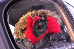 don't you know that (digitalambitions/ Valerie Hogg) Tags: camera red portrait snow ontario canada cold car hair lens fur mirror nikon guelph gloves reflexion