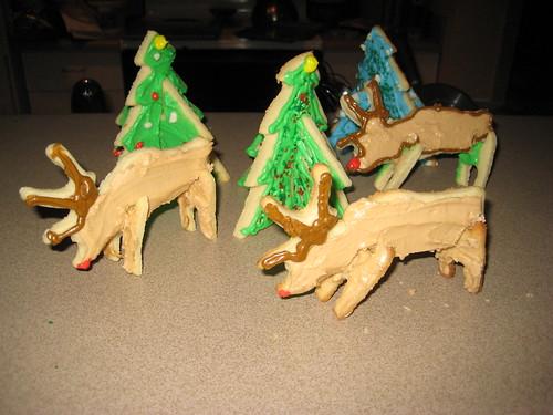 Reindeer by trees