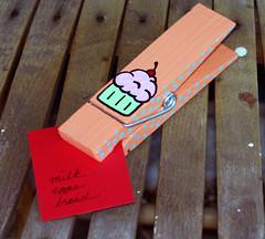 Cupcake Memo Clip (sendmeyourbrains) Tags: wood peach dot clip cupcake memo handpainted etsy polkadot memoclip leroylovesmabel