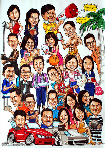 Group caricatures for HSBC colour