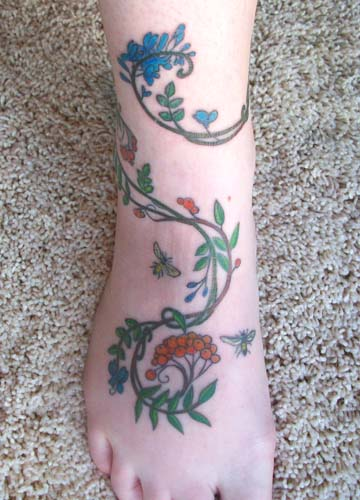 Rowan Indigo tattoo color front. Designed by fantasy artist Meredith Dillman