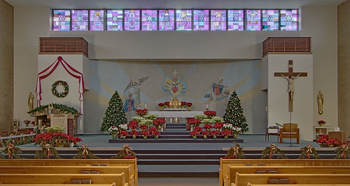 Immaculate Heart of Mary Roman Catholic Church, in Saint Louis, Missouri, USA - sanctuary decorated for Christmas