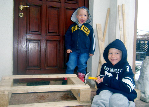 Ollie and Owen help me Build a Garden Tool Holder