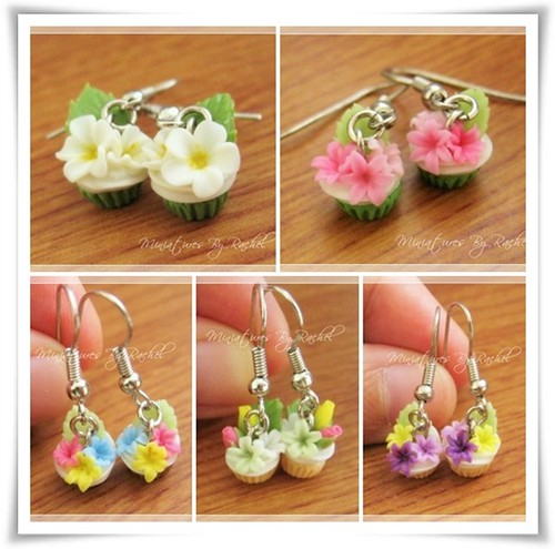 Sweet Flower Cupcake Earrings