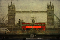 A Bus on Southwark Bridge (violinconcertono3) Tags: bridge urban bus london thames towerbridge canon vintage transport explore southwarkbridge londonist 19sixty3