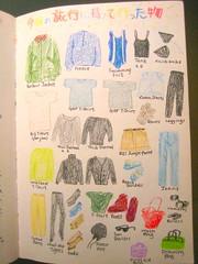 Travel wardrobe 1 (noriko.stardust) Tags: travel color colour art illustration painting japanese drawing journal illustrations blogger journey wardrobe crayons visual preparations journalling longhaul traveljournal crayonsdrawing