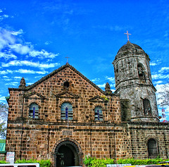 Sta. Ursula Parish Church, Binangonan, Rizal, Philippines (Vic de Vera) Tags: life city travel blue sky green tower history texture church window grass clouds canon hope photo high interesting education worship heaven view place cross image philippines places scene tourist structure steeple christian explore convento manila learning destination rizal hdr textured pp pasigcity binangonan aboveall aplusphoto vicdevera staursulaparishchurch