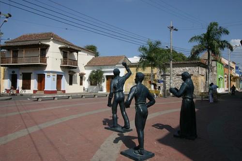 Statues in front of Iglesia de Santísima Trinidad, Cartagena.