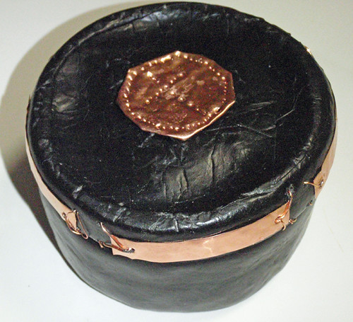 faux leather box with copper accents