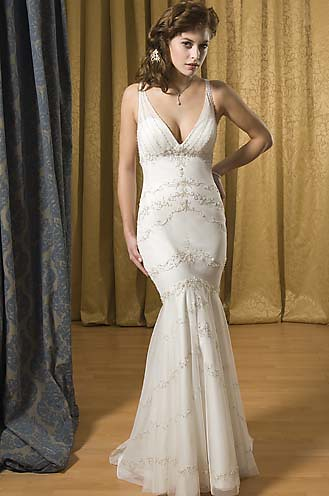 deep V neck bridal dress