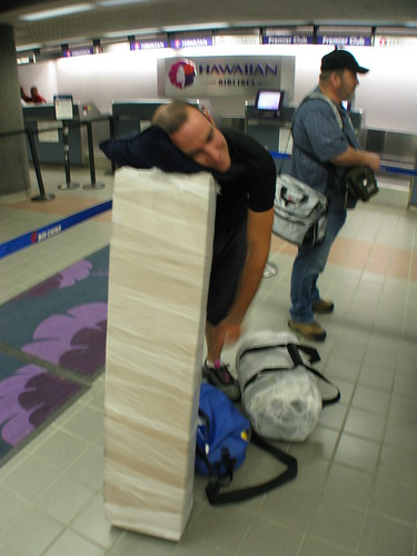 Skateboards all boxed up ready to go in Los Angeles Airport, California, USA