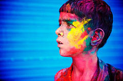 No More Holi ( Poras Chaudhary) Tags: blue red portrait india colors yellow festival geotagged nikon colours bokeh 28 holi d3 kurukshetra 2470mm geo:lon=7682983875274658 geo:lat=2996896071252178