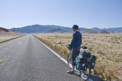 Touring Cyclist in empty Nevada