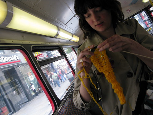 kirsty knitting on a routemaster!