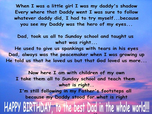 happy birthday daddy poems julie wrote this poemsong for her dad many years