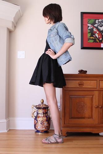 denim jacket with dress. gap denim jacket, american