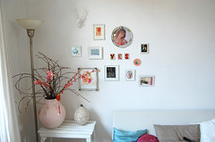 corner of my living room (ATLITW) Tags: pink flowers summer white art home wall vintage frames embroidery deer eclectic homedecor