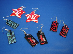 Recycle, Reduce, and Reuse: Earrings from Aluminum Cans (Urban Woodswalker) Tags: colorful recycled letters craft tiny earrings etsy bold sodapop repurposed softdrinks ecoart upcycled aluminumcans grahphic trashion repuposed redblackcolorful