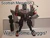 Scottish Megs (Chaos Unit 178) Tags: kilt scottish leader animated bagpipes megatron