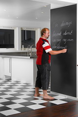 Blackboard 354:365 (andreasnilsson1976) Tags: selfportrait me kitchen tile chalk check floor 365 checkered blackboard checked chequered day354 365days