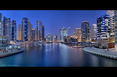 Dubai Marina - HDR Panorama (DanielKHC) Tags: blue panorama night marina nikon long exposure dubai cityscape united uae emirates arab hour hdr d300 photomatix tonemapped tamron1750mmf28 danielcheong danielkhc 7expx4 gettyimagesmeandafrica1